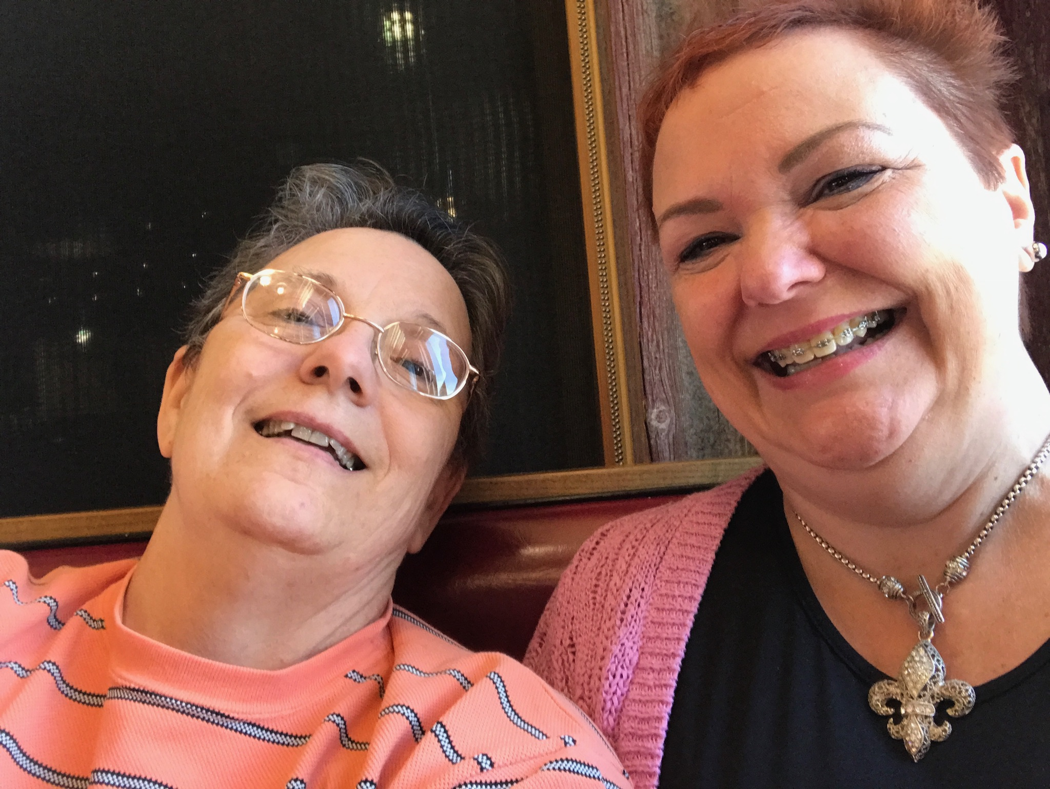 Lori (right) and me after a good lunch and fun time at lunch today.  Photo taken by and the property of FourWalls.