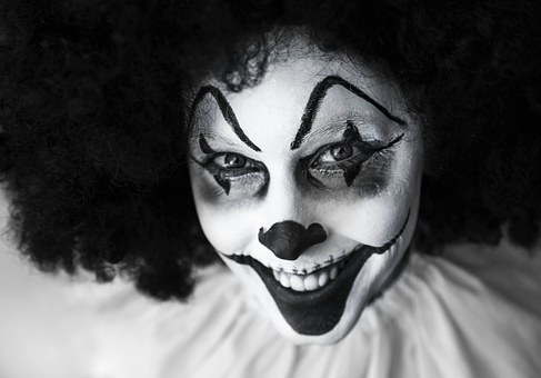 clown black and white