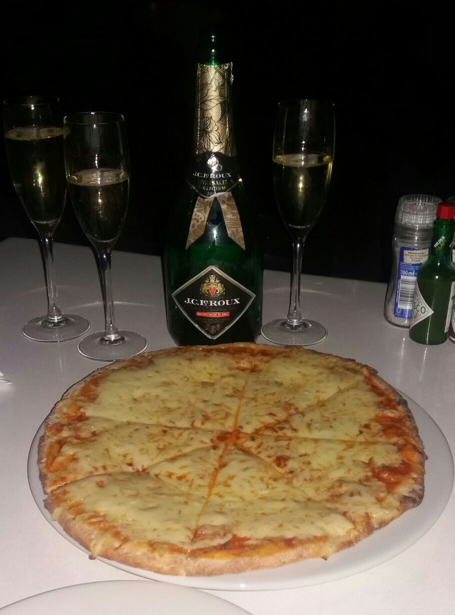 pizza and champagne night out