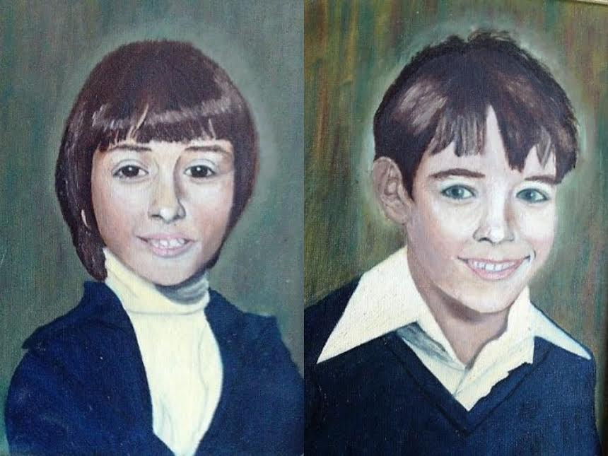 My children, painted by their grandmother.