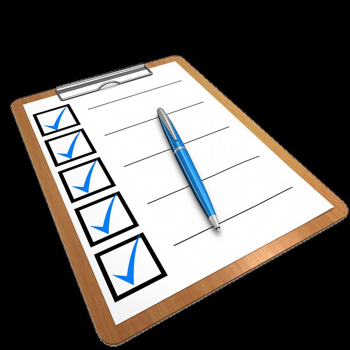 https://pixabay.com/en/checklist-clipboard-questionnaire-1622517/