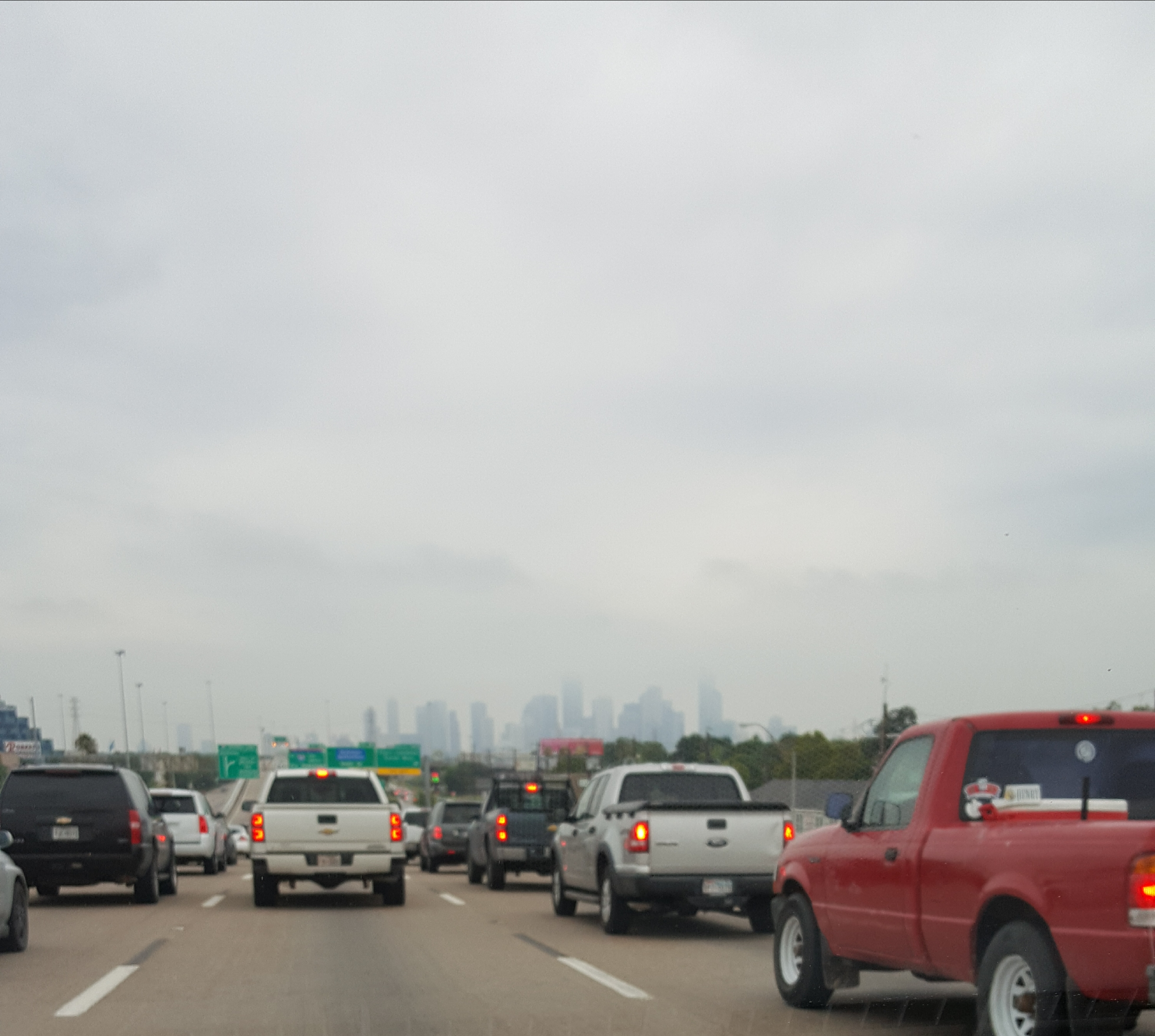 The hazy Houston skyline this morning about 8:30 a.m. CDT. Yes, we were stopped.