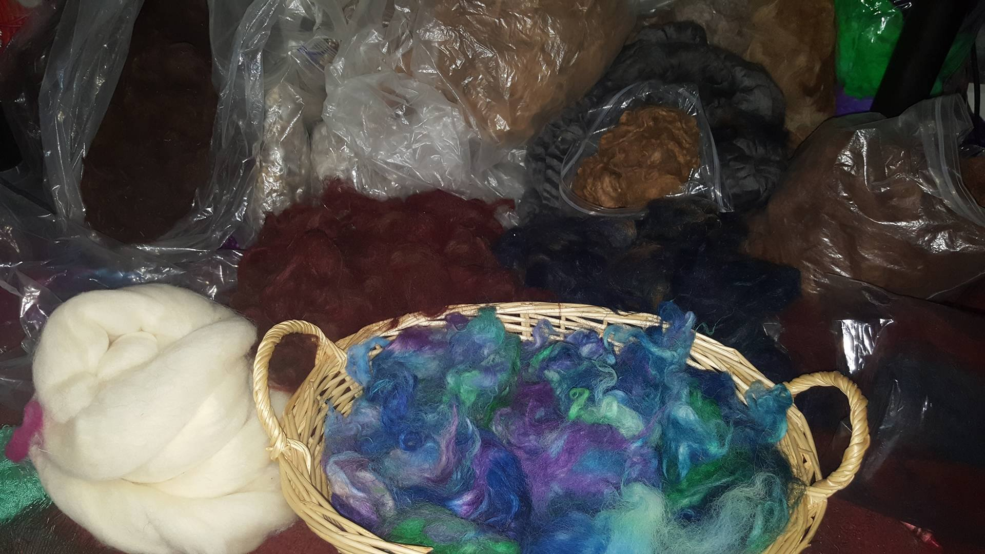 In the basket is some alpaca fiber I kettle dyed