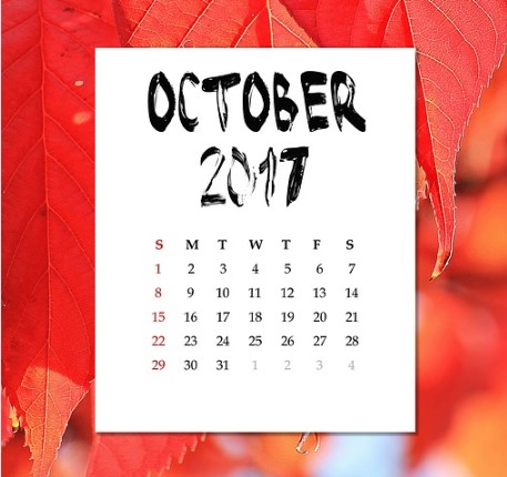 October 2017 calendar - Pixabay - PublicDomain