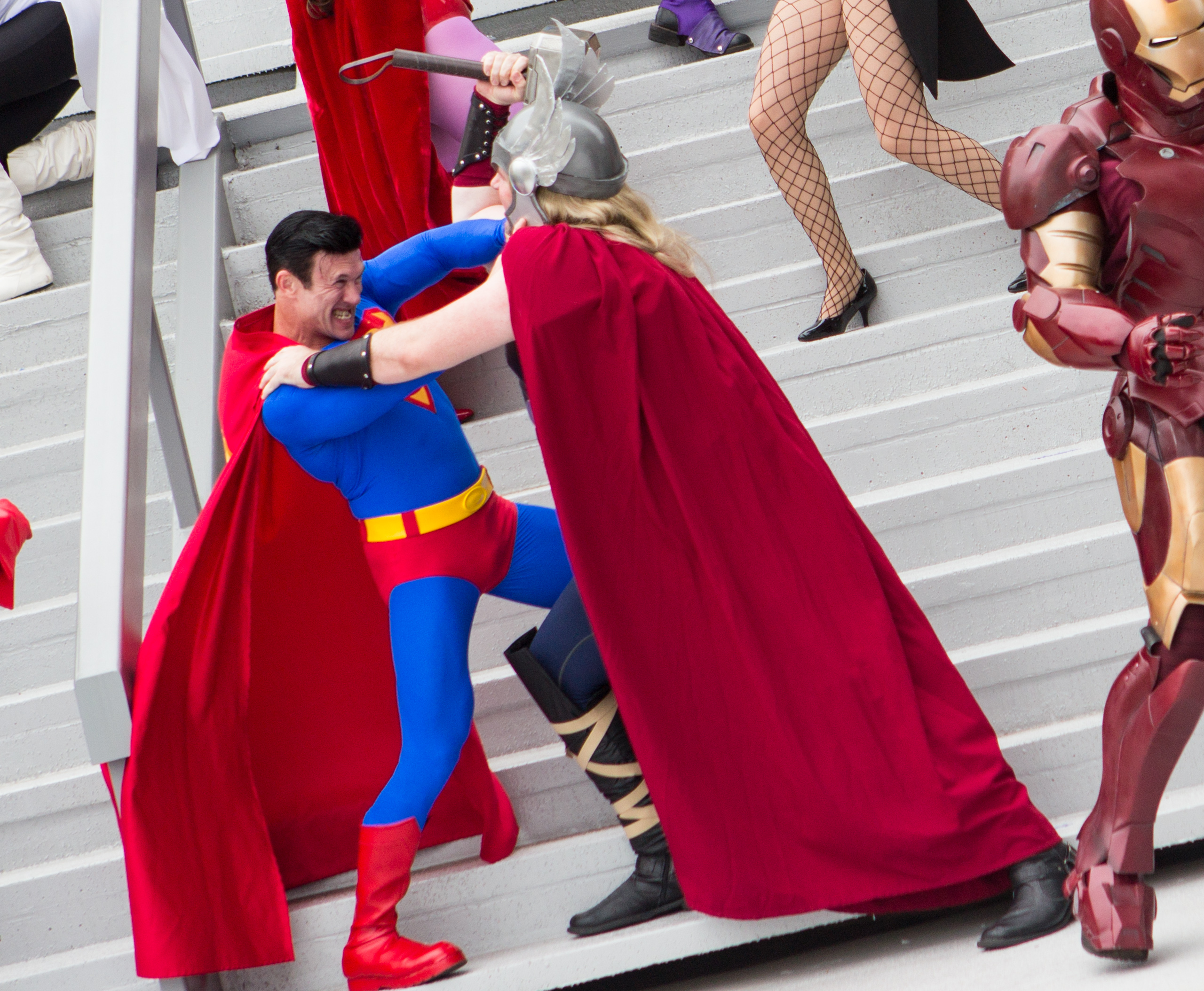 This picture is copyright free on Wikimedia commons  https://commons.wikimedia.org/wiki/File:Dragon_Con_2013_-_JLA_vs_Avengers_Shoot_(9668214483).jpg    https://www.flickr.com/photos/25569106@N00/9668214483