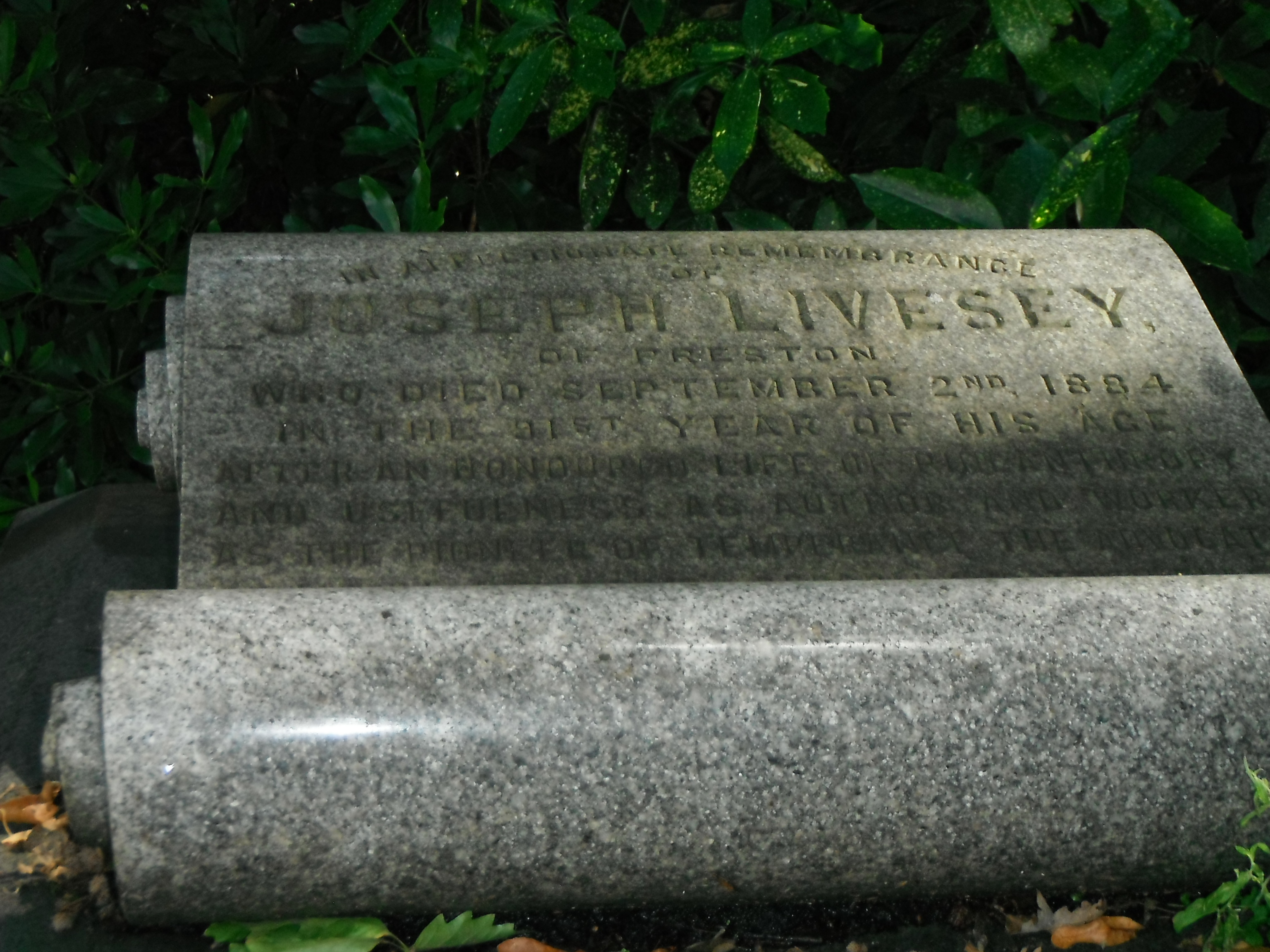 photo taken by me - gravestone in Preston Cemetery