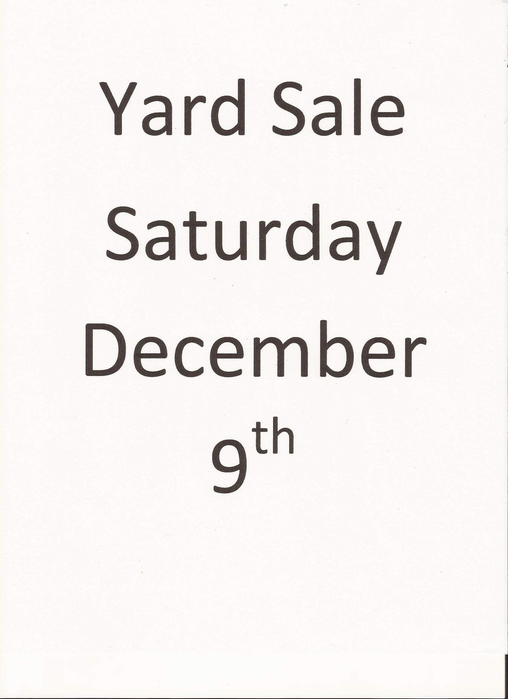 Scan of part of the Yard sale sign I made