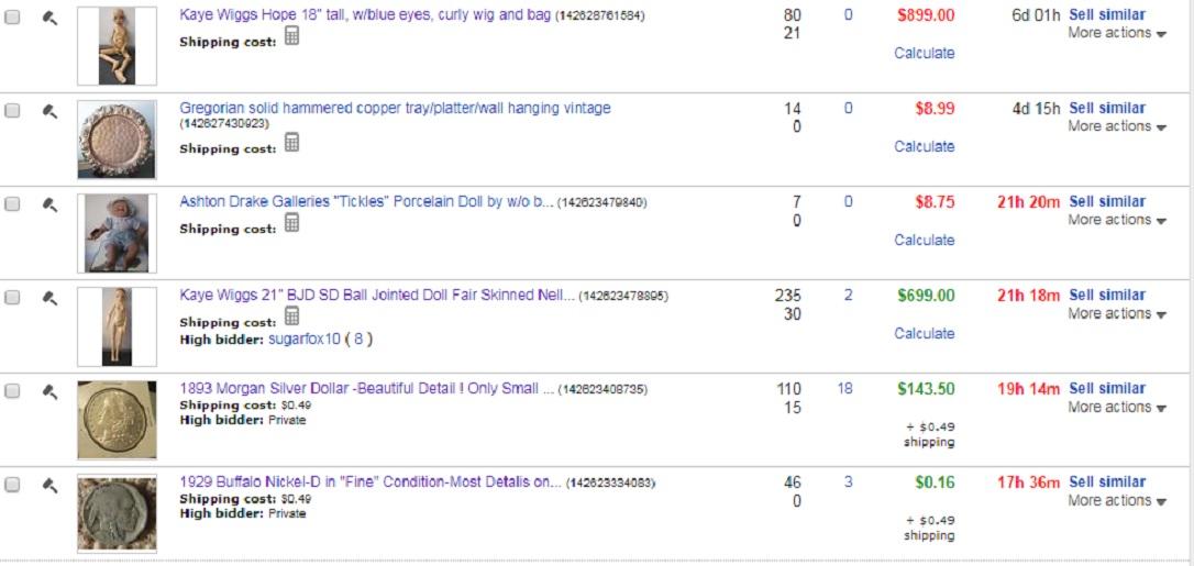 Screencap I took of my ebay auctions