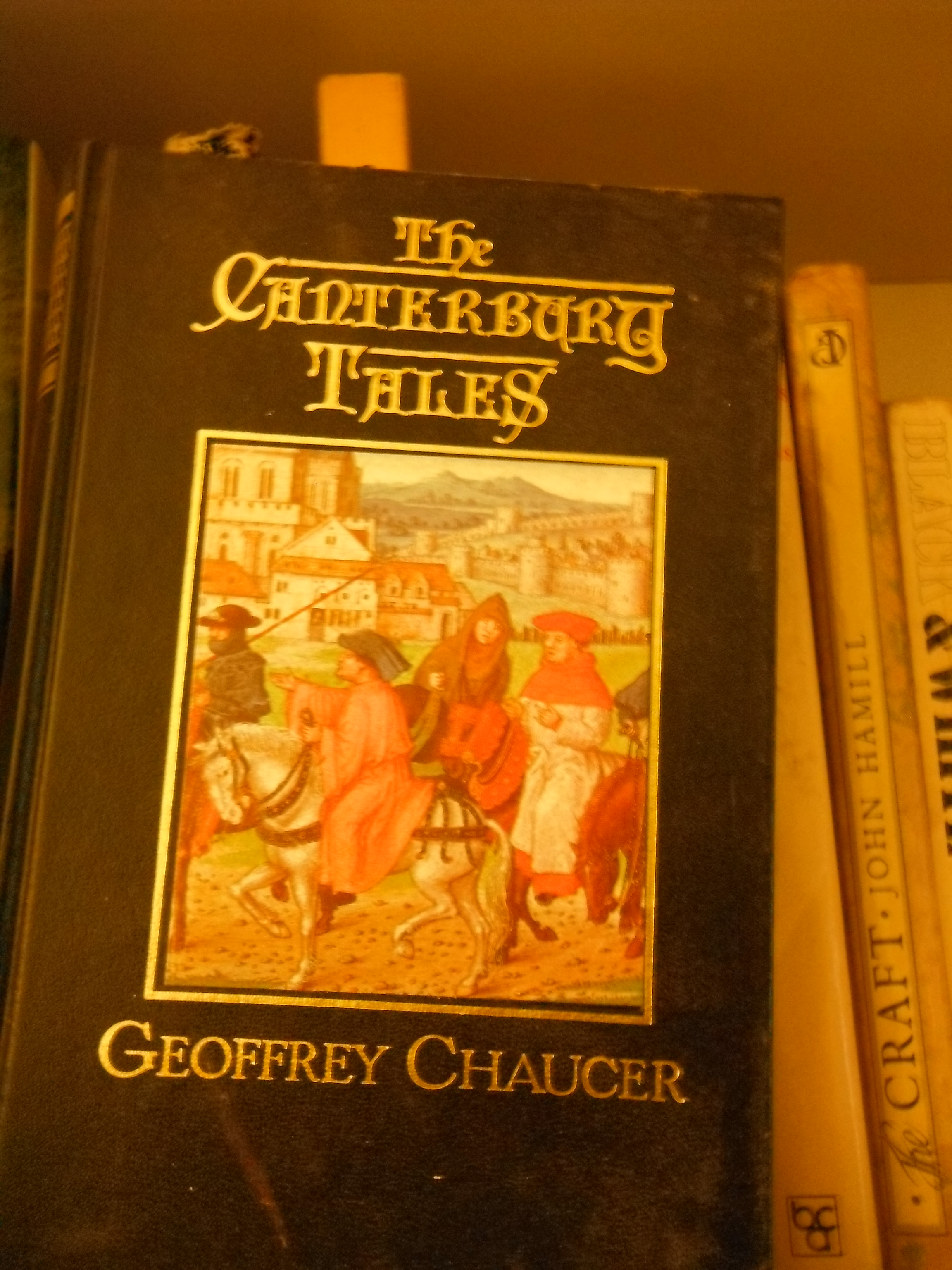 Photo taken by me – front cover to Chaucer's Canterbury Tales