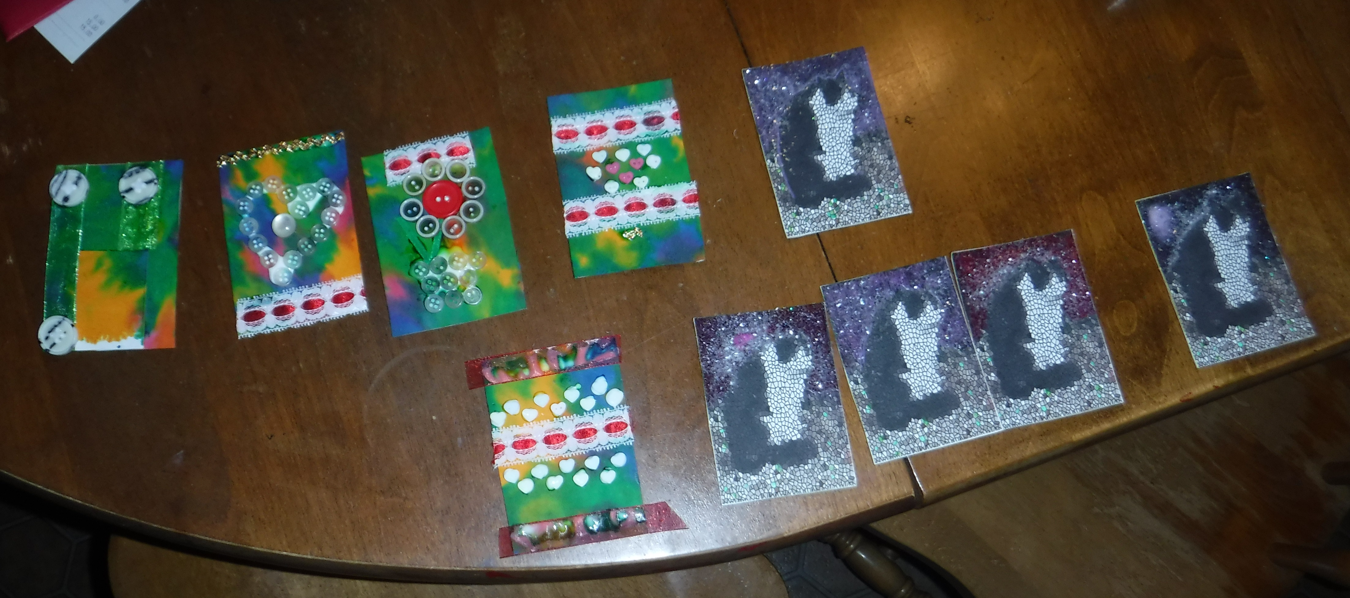 Photo I took of the Artist Trading Cards I made tonight