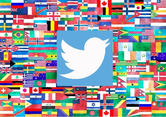 Twitter logo and flags