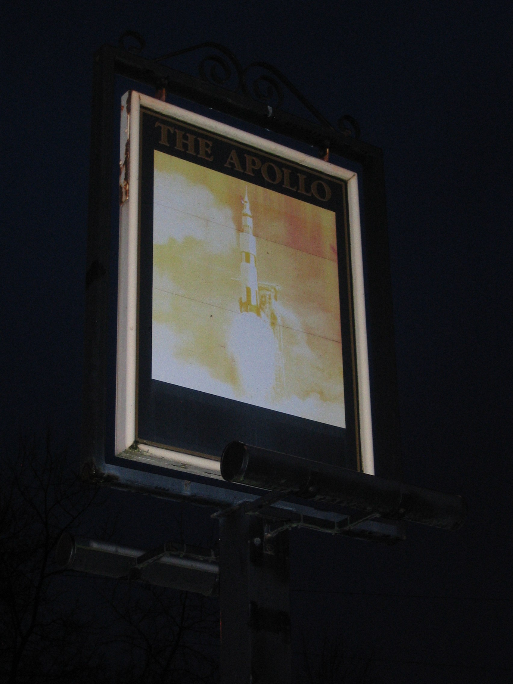 Photo taken by me – pub sign for The Apollo pub, Miles Platting, Manchester