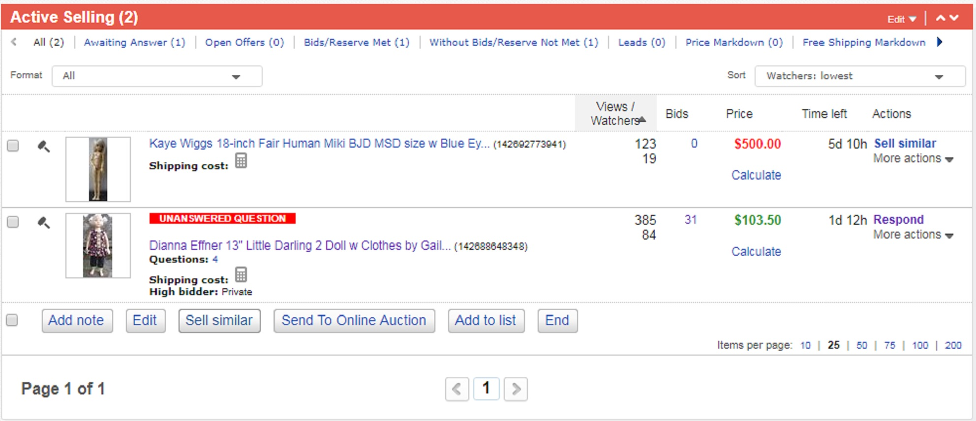 Screencap of ebay action