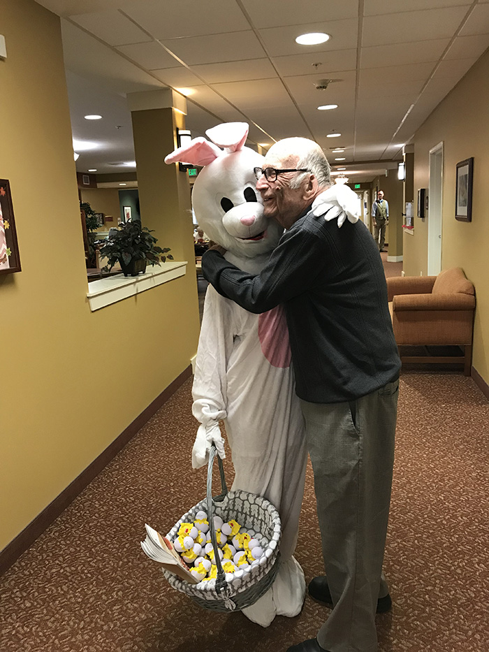 Diana Derners dressed as the Easter Bunny spreading love to her patients