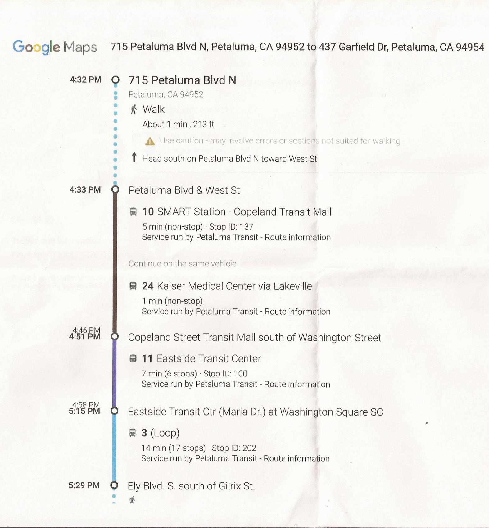 Scan of the bus schedule
