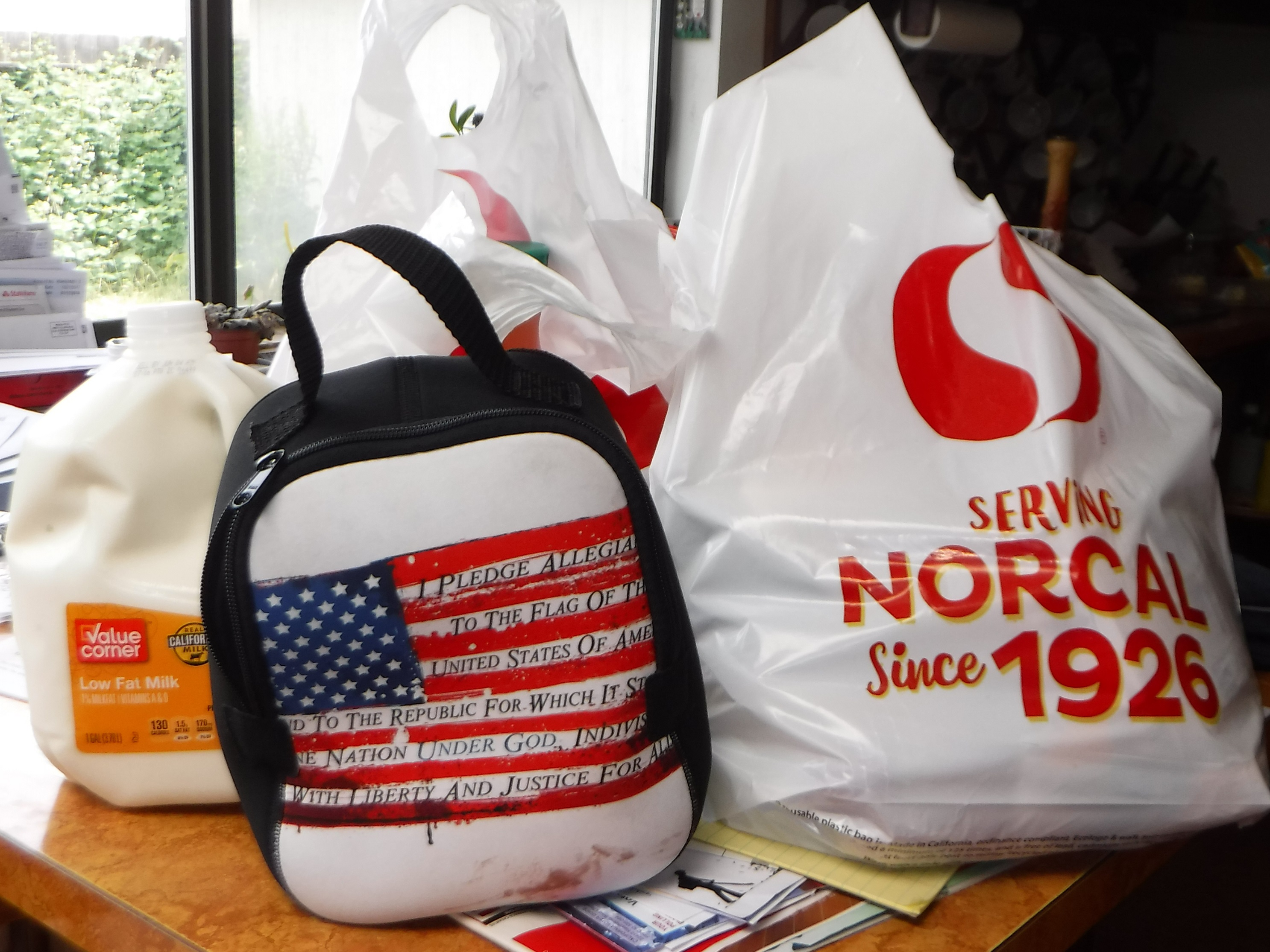Photo I took of my groceries and lunch bag when I got home