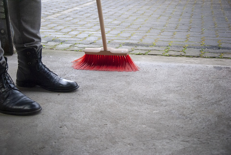 Sweeping the garage