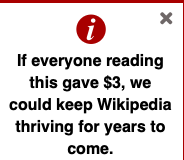 The semi-annual plea for money from Wikipedia.  Screen shot.