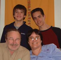 Mr. and Mrs. B and sons of Mrs. B, Michael and Mit - This is my family, except for my stepkids.