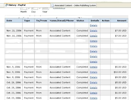 Payments from AC - Here are some of the payments I've received from Associated Content.