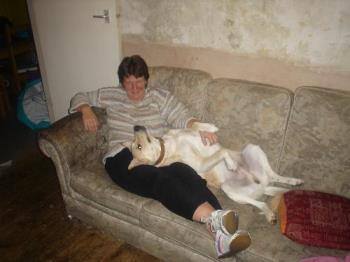 my wife and my dog, nero - this is one taken with my camra with my wife and our dog, nero