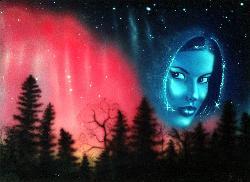 watcher, (airbrush art). - watcher of the night sky