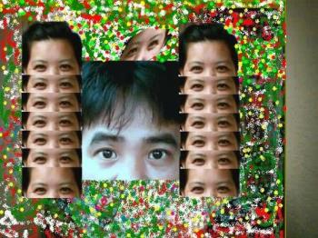 Totem pole - This is my version of a totem pole, Those are my brown eyes and my man in the middle. I created this while I was working off line because my telephone line was under repair.  Got the inspiration from my home town totem poles, done by my ansestors way back in Bagio City.
