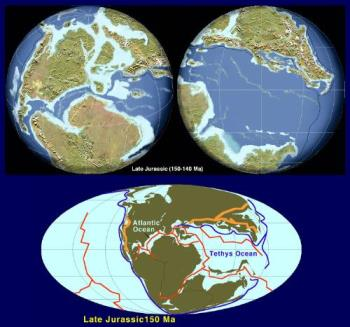 Jurassic Continents - The continent configuration of The Late Jurassic period