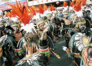 Dinagyang festival, Iloilo Philippines - A group of warriors taking a break after a performance in the dinagyang festival