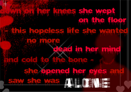alone - she opened her eyes and saw she was alone