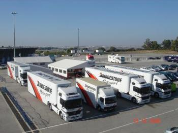 the trucks - the trucks from Bridgestone.Near to the pit stop in Jerez at the test race.