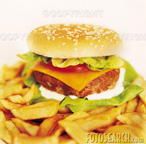 food - hambuger and chips