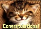 congratulations - a kitten smailling at you and congratulations at the bottom in writing.
