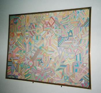 Ken's Artwork - Here is a picture of my artwork.  It is abstract/geometric art and this was done on a posterboard with watercolor markers.