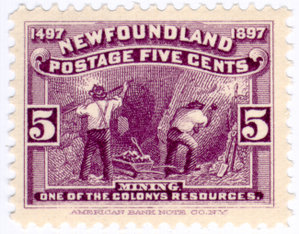 World's FIRST POSTAGE STAMP. - World's first stamp was issued in Newfoundland in 1897 featuring the mining works..