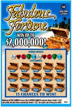 Fabulous Fortune Scratch Off Ticket - Match any of YOUR NUMBERS to any of the 10 WINNING NUMBERS, win prize shown  Reveal a coin symbol, win prize automatically  Reveal a star symbol, win 10 times prize shown