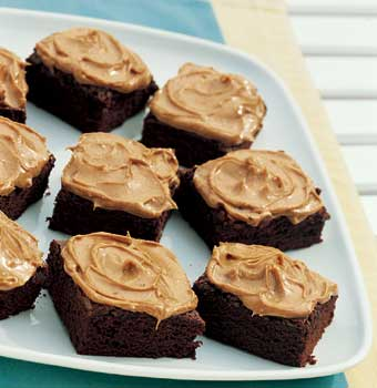 Brownies w/ Peanut Butter Frosting - Oh can't you just taste these lovely fudge brownies with peanut butter frosting...yummm I can't wait to make some.