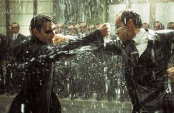 Neo and Smith in the big brawl - Neo and Smith in the Matrix's last big fight.