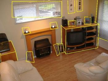 my old lounge room full of ikea items - All of the objects outlined in yellow were ikea purchases