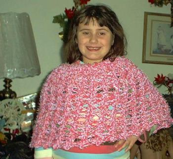 Crocheted poncho - Crocheted poncho in pink and white