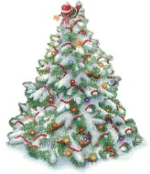 Christmas, tree, stress, holidays - A snow covered, decorated Christmas tree.