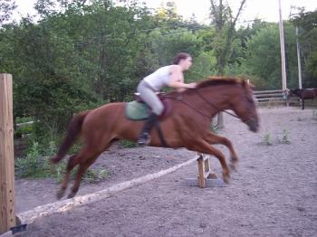 Sheilana with her Jazzy - she getting Jaz over his first real jump