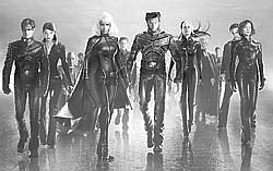 X-Men Movie - This is a black and white picture of the cast of 'X-Men', the movie.