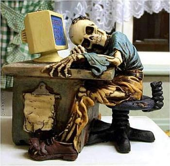 Waiting for Raise - This is a little figurine featuring a skeleton sleeping at a desk. It is called, Waiting for a Raise. LOL.