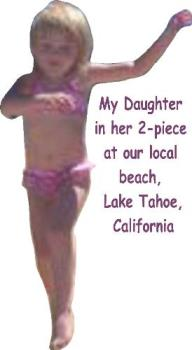 daughter in bathing suit - at our local beach in lake tahoe ca