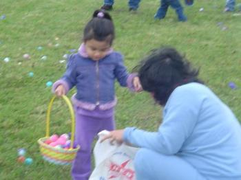 egg hunt - My toddler at the Easter egg hunt. It was soooooo cold so we just filled her basket and went home.