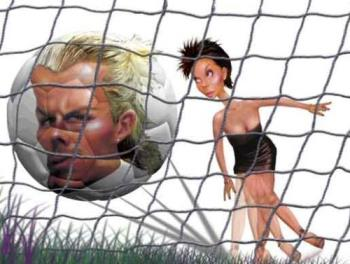 """Posh playing footie? - Couldn't resist putting up this pic of """"posh"""" here which I found at: http://www.cartoonsbydeano.com/David_Beckham_%20Spice_Girl.htm"""