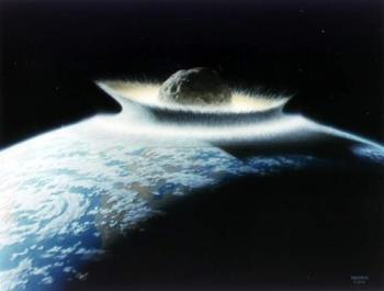 asteroid - virtual image of asteroid hitting earth