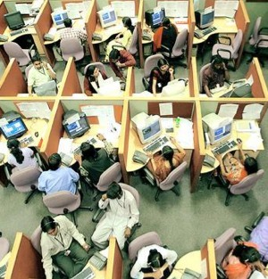 Call center,India - An Indian call center.Congested environ.