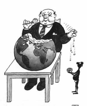 Example of Greed - image of fat greedy man partaking of the globe and dropping crumbs to a poor practically naked man.